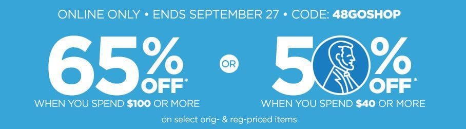 JCPenney: 50% off Any $40 Purchase OR 65% off Any $100 Purchase + Free Shipping