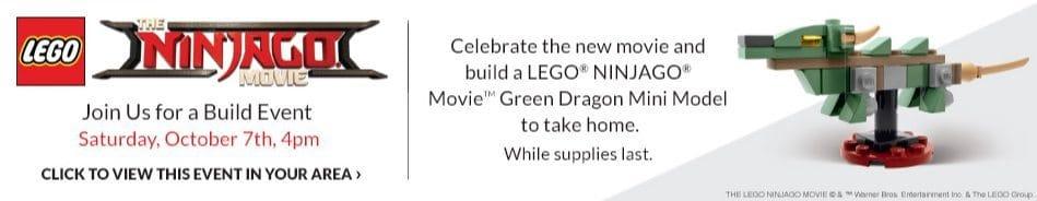 Barnes & Noble Event: FREE LEGO Ninjago Green Dragon Mini Model **October 7th**