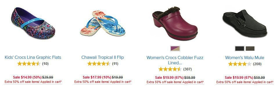 Additional 50% off Select Shoes at Crocs.com - Prices Start at $4.99