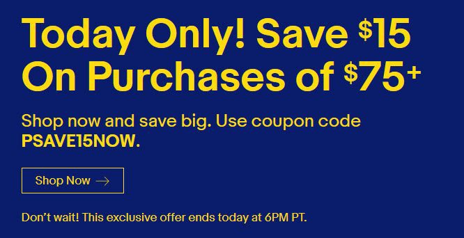 Ebay Flash Sale - $15 off Any $75 Purchase Until 6pm PST **HOT**
