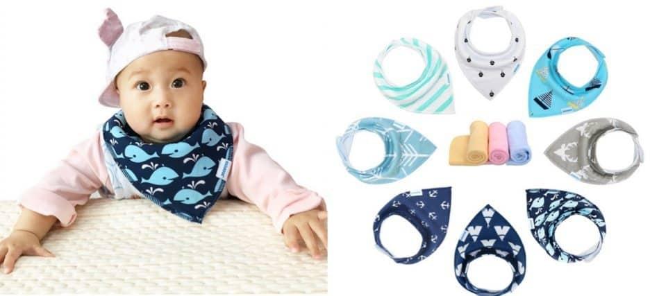 Baby Bandana Drool Bibs 8-Pack Set & Wash Cloth <br>Only $13.86
