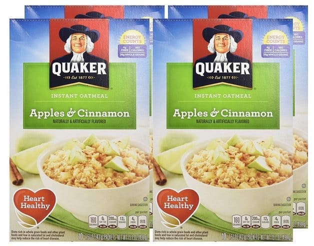 Quaker Instant Oatmeal Deal - Apples & Cinnamon 40 Count $7.50 Shipped **Only 19¢ Each**