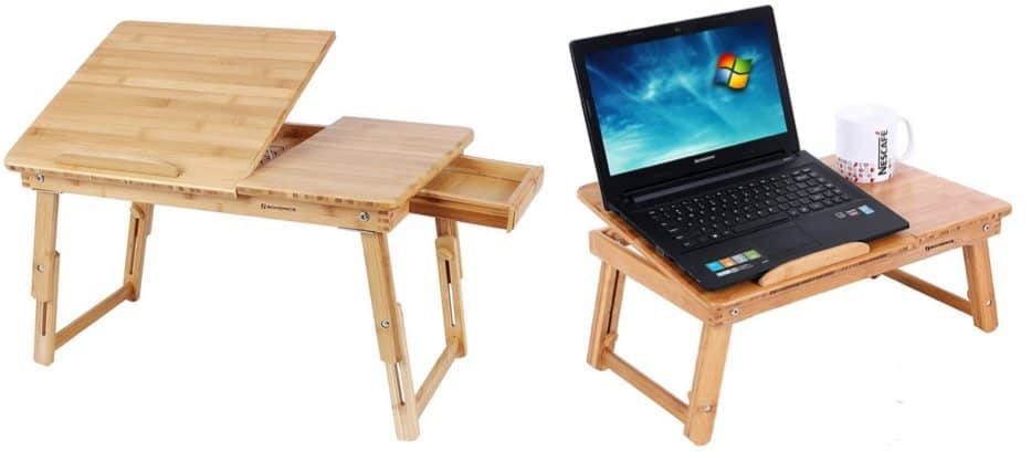 Adjustable Bamboo Lap Desk Bed Tray with Tilting Top and Drawer $24.74 **Today Only**
