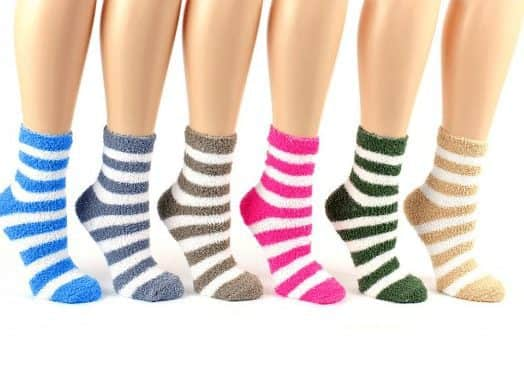5 Pair of Fuzzy Striped Ankle Socks Only $5.00 Shipped