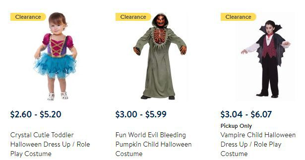 Walmart Clearance: Kids Halloween Costumes from ONLY $2.60 Each