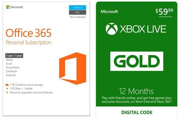 Microsoft Office 365 1 Year Key Card + Xbox LIVE 12 Month ONLY $69.99