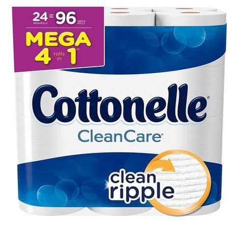 Cottonelle Clean Care Toilet Paper 24 Mega Rolls $18.37 **Only 19¢ Per Regular**