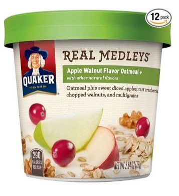 Quaker Real Medleys Apple Walnut Instant Oatmeal 12-Pack $14.41 **Only $1.20 Each**