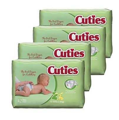 Great Diaper Deal - Cuties Baby Diapers Size 2 (168 Count) Only $13.19