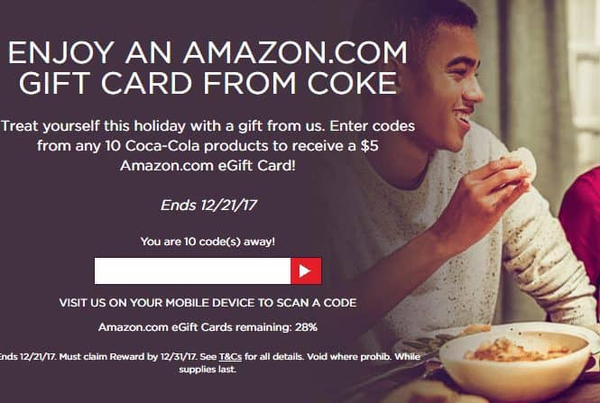 My Coke Rewards: Free $5 Amazon eGift Card for Entering 10 Codes **Select Accounts**
