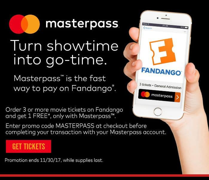 Movie Ticket Deal: Buy 2 Movie Tickets at Fandango.com, Get One Free
