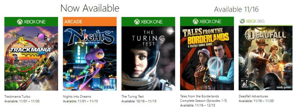 5 FREE Xbox Games Available for November