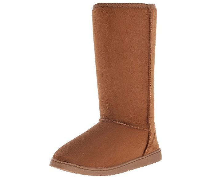 DAWGS Womens 13 Inch Microfiber Faux Shearling Vegan Winter Boots Only $16.99 (Was $90)