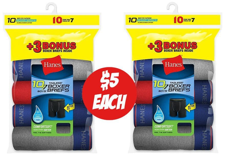 10 Pack Hanes Boys' Cool Comfort Boxer Briefs ONLY $5.60 Shipped **Still Available**