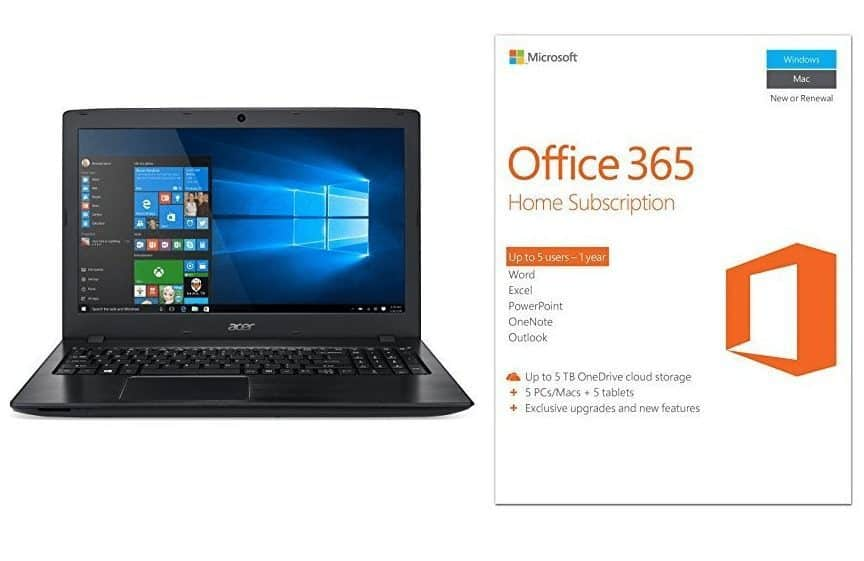 Acer Aspire E 15.6-Inch Full HD Notebook + One Year of Office for FIVE Users $347