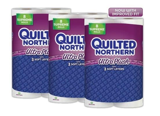 24 Supreme Rolls of Quilted Northern Ultra Plush $17.64 Shipped **19¢ Per Single Roll**