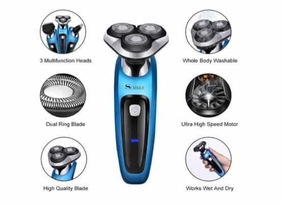 Surker 3-in-1 Electric Rotary Shaver, Nose Trimmer, and Sidebums Razor Only $16.73