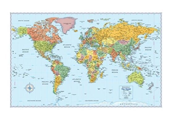 Rand McNally World Wall Map Only $2.93