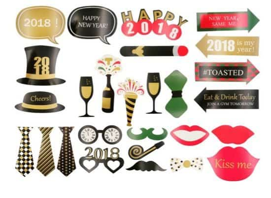 38 Piece New Years Photo Booth Props Kit Only $6.99