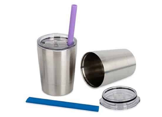 Set of 2 Stainless Steel Sippy Cups with Lids and Straws Only $15.99