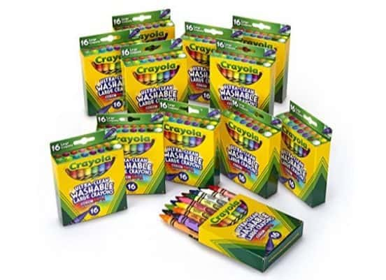 Crayola Ultra-Clean Washable Large Crayons, 12 Packs of 16 Count Only $13.27 (Was $40)