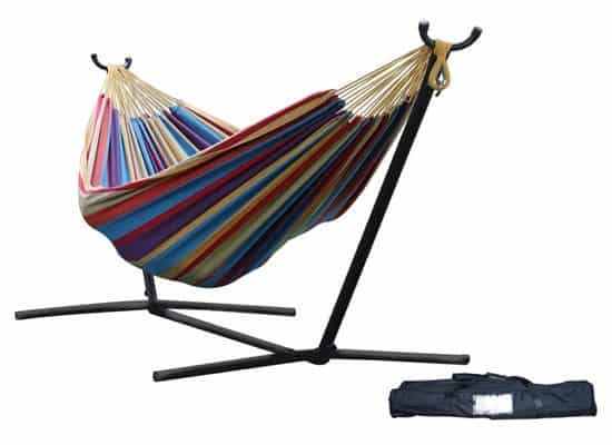 Vivere Double Hammock with Space-Saving Steel Stand $79.99 **Today Only**