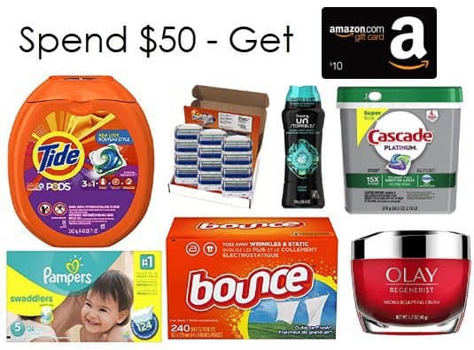 FREE $10 Amazon Gift Card WYB $50 Worth of P&G Products **Pampers, Tide, and More**