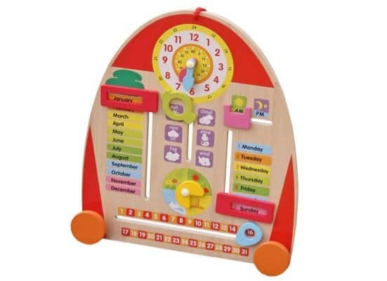 Timy Wooden Calendar Board Teaching Clock Only $10.99