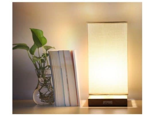 Bedside Table Lamp with Linen Shade Only $13.99