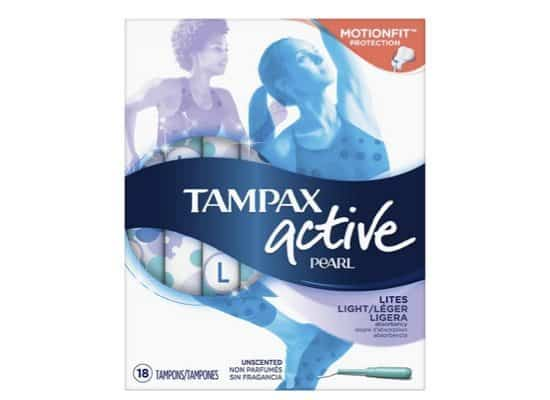 Tampax Pearl Active Plastic Tampons 18 Count Only $2.47