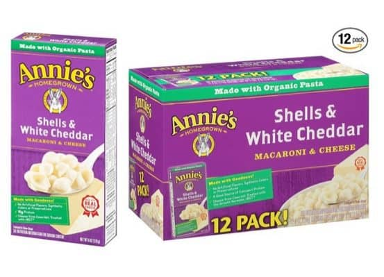 Annie's Shells & White Cheddar Macaroni & Cheese (Pack of 12) $8.29 **Only 69¢ per box shipped**