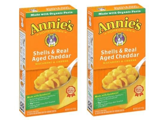 Annie's Shells & Aged Cheddar Macaroni & Cheese 12-Pack $8.29 **Only 69¢ per box**