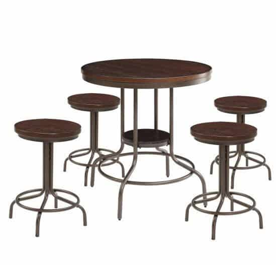 Burney 5-Piece Counter-Height Dining Set, Cherry Oak and Bronze ONLY $199 (Was $400)