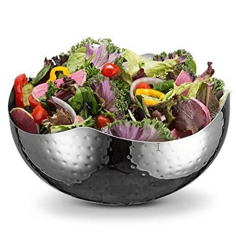 KooK 10 Inch Hammered Style Wave Serving Bowl - Stainless Steel Only $9.49