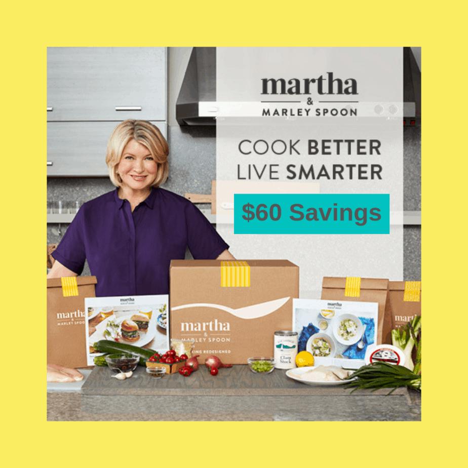 Martha Stewart's Food Service Marley Spoon $60 Discount