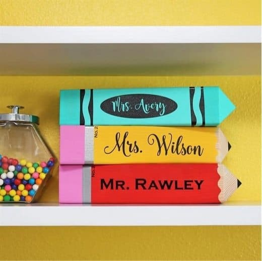 Personalized Pencil or Crayon Sign & Holder Only $19.99