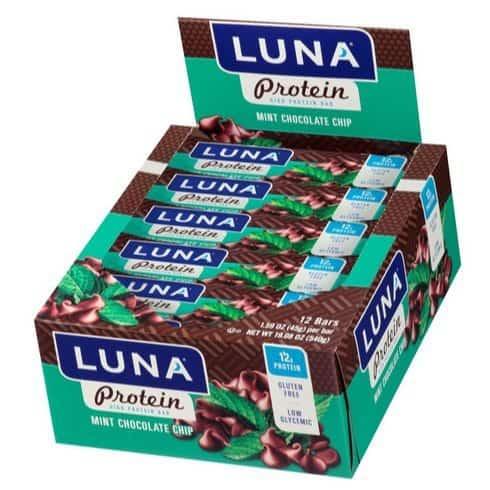 LUNA PROTEIN Gluten Free Chocolate Mint Protein Bar 12 Count Only $9.55