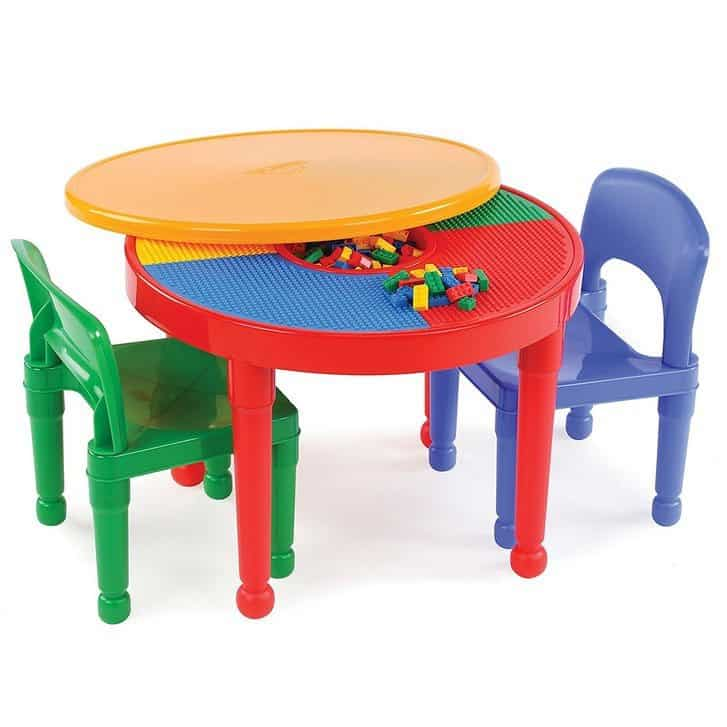 Tot Tutors Kids 2-in-1 LEGO-Compatible Activity Table & Chairs Set $44.99