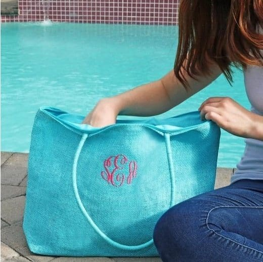 Monogram Burlap Totes Only $8.99