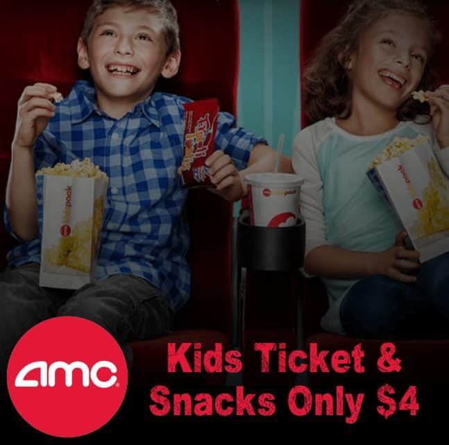 AMC Theaters: Kids Ticket and Snack Pack only $4.00 on Wednesdays