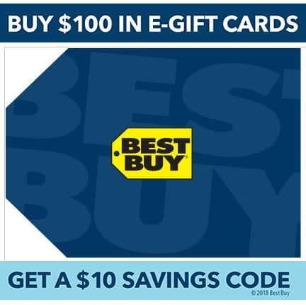 Free $10 Best Buy Savings Code WYB $100 Worth of e-Gift Cards