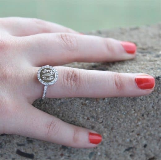 Monogrammed Sterling Silver Ring Only $14.99 Each
