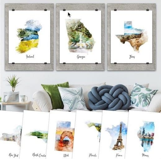 Watercolor Map Canvas Prints Only $3.49