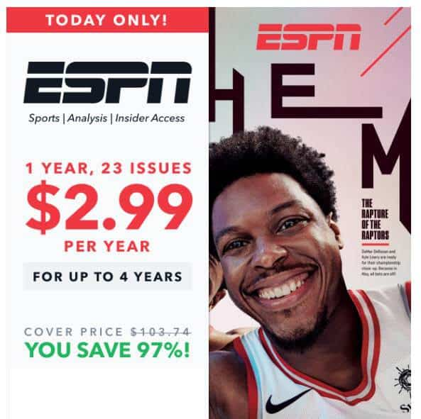 Subscription to ESPN Magazine $2.99 Per Year **HOT**