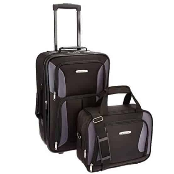 Rockland Luggage 2 Piece Set, Black/Gray, One Size Only $29.99 (Was $79.99)