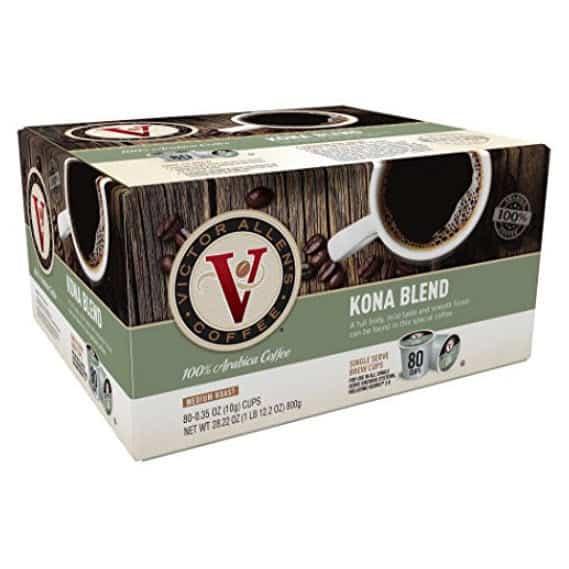 Victor Allen Coffee, Kona Blend Single Serve K-cup, 80 Count Only $17.66