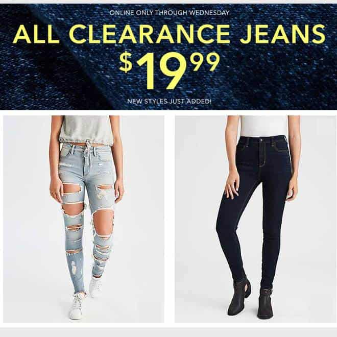 American Eagle: All Clearance Jeans $19.99 Per Pair