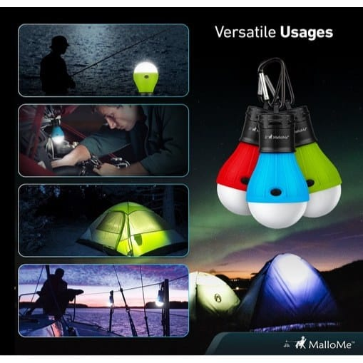 MalloMe Camping Tent Lantern Bulb Lights 4-Pack Only $10.99