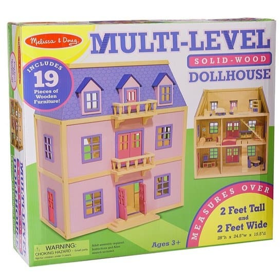 Melissa & Doug Multi-Level Wooden Dollhouse With 19 pcs Furniture $80 (Was $149.99)