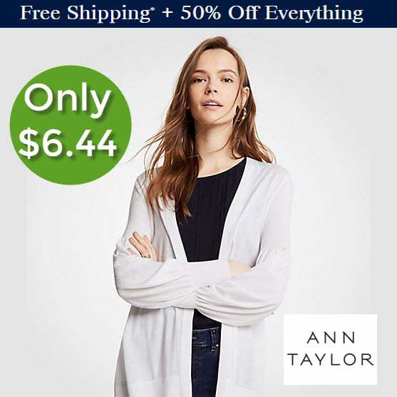 Extra 50% off at AnnTaylor.com - Cute Cardigan ONLY $6.44 Shipped **HOT**